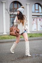 cream Jessica Buurman boots - cream Nordbron hat - off white Zara sweater