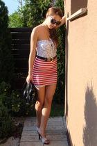 red custom made skirt - white custom made top - white random brand shoes - black