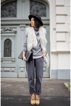 gray pants - periwinkle vest