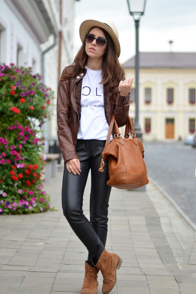 Bershka jacket - Massimo Dutti bag - custom made pants - Tshirt Factory t-shirt