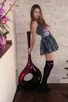 gray unknown top - gray Stradivarius skirt - black unknown socks - black MelliMe