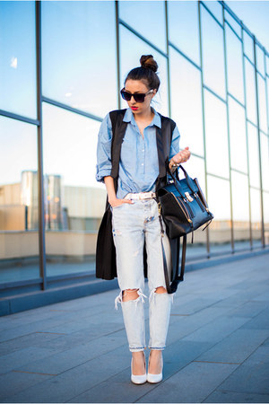 white Lavine pumps - sky blue jeans - blue shirt - black Sheinside vest