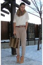 beige Zara pants - beige BBup shoes - off white Zara shirt