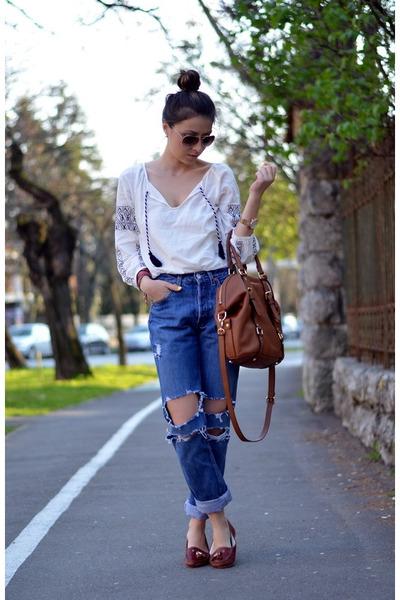 blue DIY jeans - white OASAP blouse