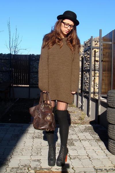 brown Zara sweater - black Jeffrey Campbell shoes - black H&M hat