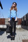 Black-zara-leggings-sky-blue-zara-shirt-black-random-bag-gray-stefanel-ves