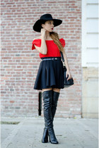 black Mono Shoes boots - black H&M hat - black H&M skirt - red Chicwish top