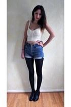 blue Levis shorts - black River Island boots - white bralet Topshop bra