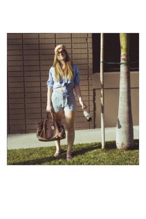 espadrille tory burch shoes - chambray vintage shirt - vintage silk Vera scarf -