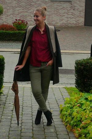 Zara coat - Zara jeans - Topshop blouse - Zara heels
