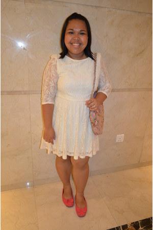 lace Topshop dress - floral GINA TRICOT bag - Max flats