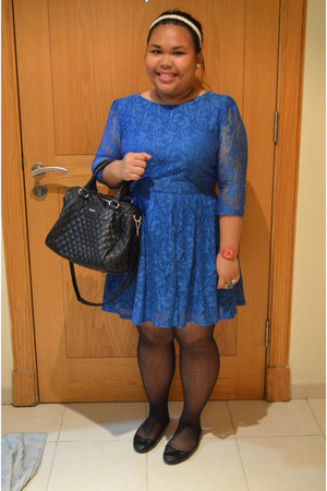 blue lace dress Topshop dress - sheer polkadot Topshop tights