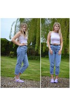 sky blue mom jeans Topshop jeans - periwinkle top - periwinkle Ebay sandals