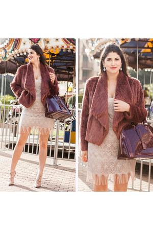 maroon faux fur Express coat
