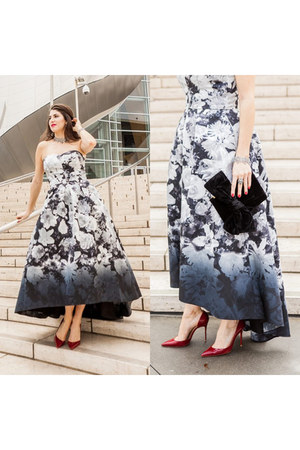 white printed Alfred Sung dress