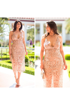 nude lace Dress The Population dress