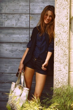 navy blazer - navy shirt - white YSL bag - blue denim shorts shorts