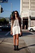black boots - white dress - silver sweater - black bag - black accessories