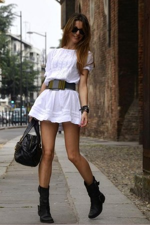 white Zara dress - black biker Bertie boots - Marc Jacobs bag