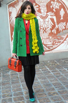 carrot orange H&M blazer - forest green Mango coat - brick red New Yorker bag