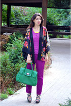 purple H&M cape - teal nissa bag - magenta Zara pants