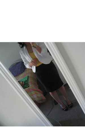 white H&M blazer - yellow Forever 21 top - black Forever 21 skirt - gold Forever