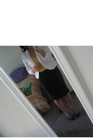 white H&M blazer - yellow Forever 21 top - black Forever 21 skirt - gold Forever