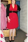 Red-handmade-dress-black-new-look-wedges-black-h-m-cardigan