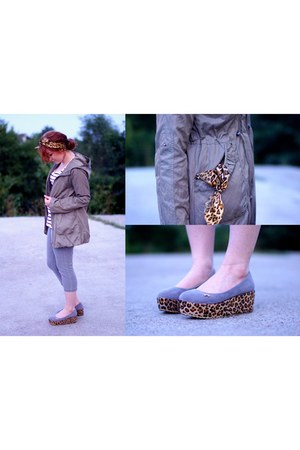 heather gray leopard print boots - army green jacket
