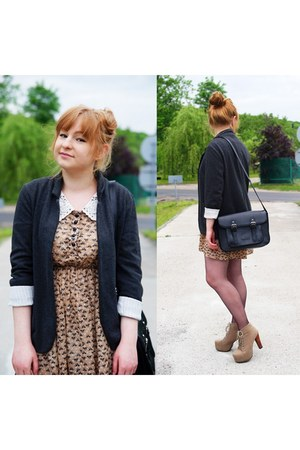 camel dress - gray blazer