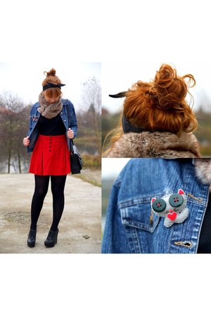 ruby red Zara skirt