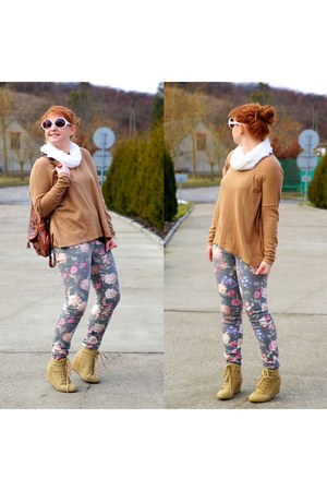 camel H&M cardigan - light pink New Yorker pants - tan CCC sneakers