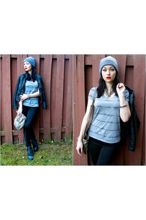 black combat boots blue notes boots - sky blue beanie blue notes hat