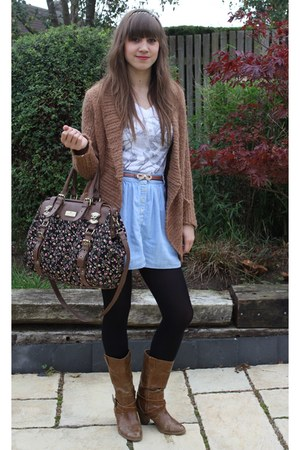 boots - bag - skirt - belt - t-shirt - cardigan