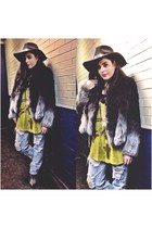 coat - Jeffrey Campbell boots - Nasty Gal jeans - Forever 21 hat