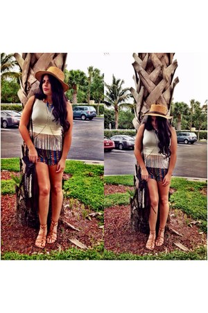 Urban Outfitters hat - shorts - Forever 21 top - sandals - necklace