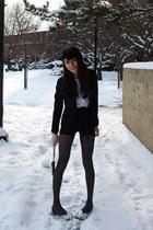 black Zara heels - black velvet American Apparel hat - velvet armani blazer