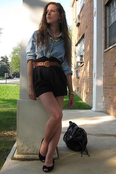 gold vintage necklace - black R2 shoes - blue vintage shirt