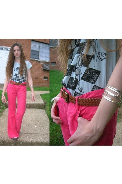 H&M t-shirt - French Connection pants - vintage belt - forever 21 bracelet - Old