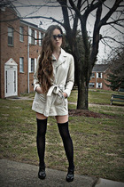 beige Urban Outfitters coat - black rinka collections socks - black unknown shoe