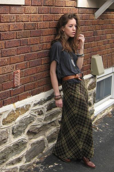 vintage shoes - free people shirt - plaid The Limited skirt - vintage belt