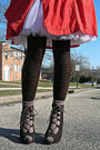 Orange-w-doubleudot-coat-white-vintage-skirt-brown-forever-21-tights-brown