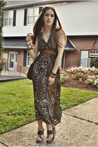 army green leopard print vintage dress - brown shoulder bag vintage bag