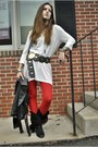 Black-vintage-boots-red-crochet-free-people-leggings-white-h-m-shirt