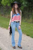 brown clogs Fioni clogs - sky blue flares True Religion jeans