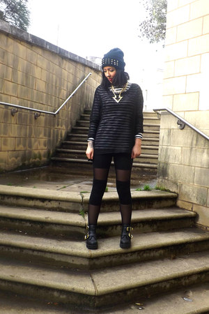 cut out new look boots - sheer panel H&M leggings - mesh Primark top