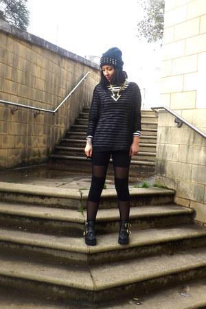 cut out new look boots - sheer panel H&M leggings - mesh Primark top