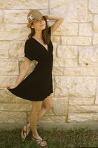 black lux uo dress - black katy kiro shoes - brown Eugenia Kim hat - white earri