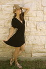 Black-lux-uo-dress-black-katy-kiro-shoes-brown-eugenia-kim-hat-white-earri