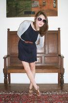 blue ann taylor dress - gray Target cardigan - blue Forever 21 belt - brown Targ